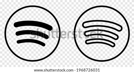 Logo in line art style. Social media logos concept isolated on transparent background