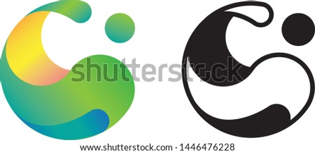 Logo in the shape of a ball. Logo icon is a vector template for corporate style. Abstract business symbol with blue-green color of the trend gradient. Flat design style.