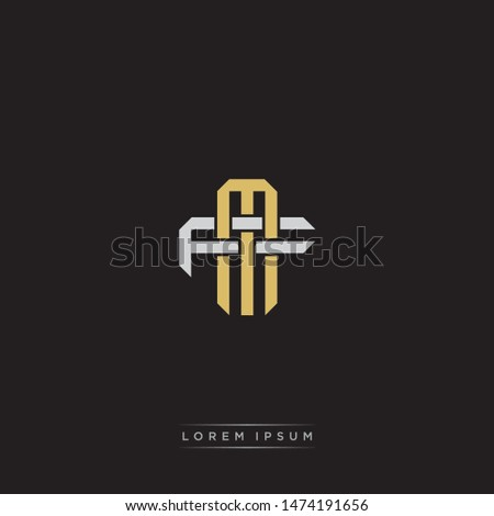Logo initial MF M F FM  monogram letter vintage style gold and grey colors isolated on black background Stock fotó ©
