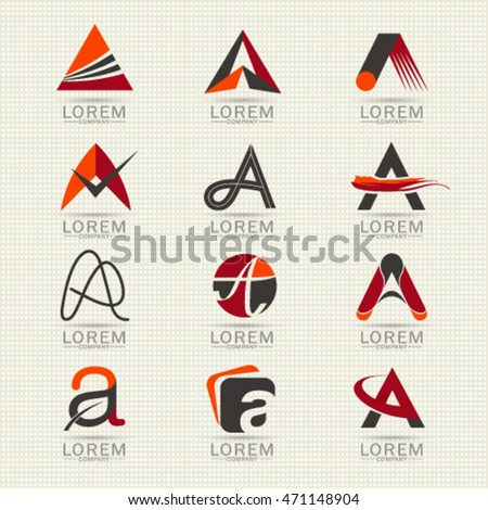 Logo letter A element and Abstract web Icon and globe vector symbol. Unusual sign icon and sticker Set. Graphic design easy editable for Your design. Modern logotype icon.