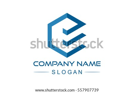 logo letter e hexagonal ribbon line logo, icon, symbol