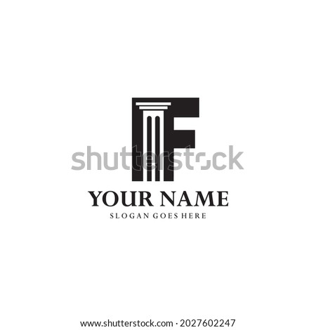 logo letter F and pillars. Abstract combination of pillars in letter F negative space concept. Suitable for legal businesses, lawyers, law offices, legal consultants and others Foto stock ©