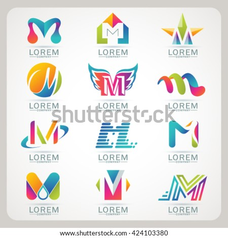 Logo letter M element and Abstract web Icon and globe vector symbol. Unusual sign icon and sticker set. Graphic design easy editable for Your design. Modern logotype icon.