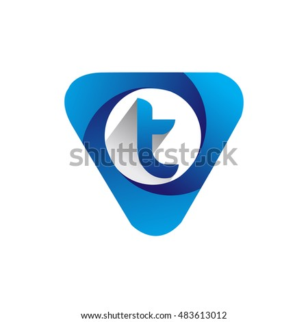 logo letter t blue colored in