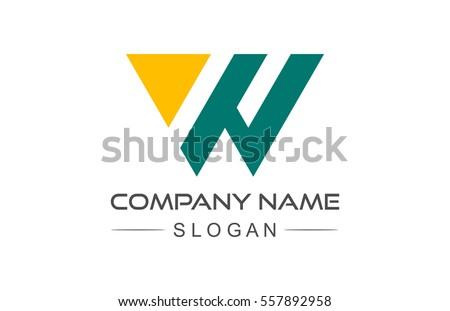 logo letter w geometric triangle Zdjęcia stock ©