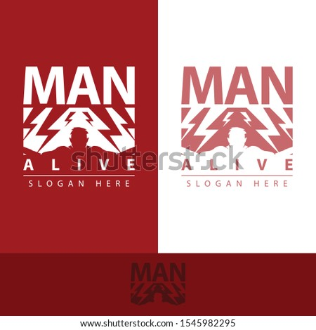 logo man alive with a strong human form and many lightning on it has its own uniqueness with bold colors, making this design modern, unique, elegant, simple, luxurious.