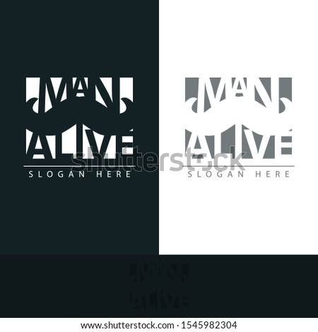 logo man alive with the shape of a mustache between the name of the logo makes this logo has its own uniqueness with muted colors, making this design modern, unique, elegant, simple.