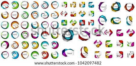 Logo mega collection, abstract geometric business icon set. Vector illustration