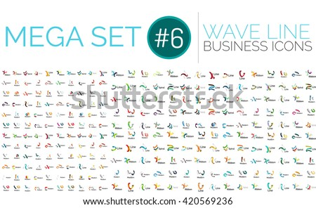 Logo mega collection - wave business logotypes