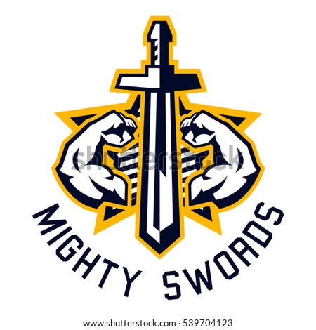 logo mighty swords muscular