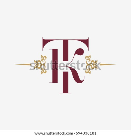 Logo monogram with letter T and letter K in vintage style with ornament. Monogram Initial TK vector company logotype design template. Stok fotoğraf ©