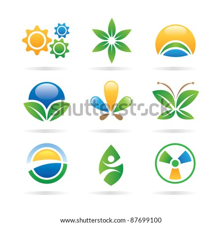 Logo nature green eco world health medical icons - logos