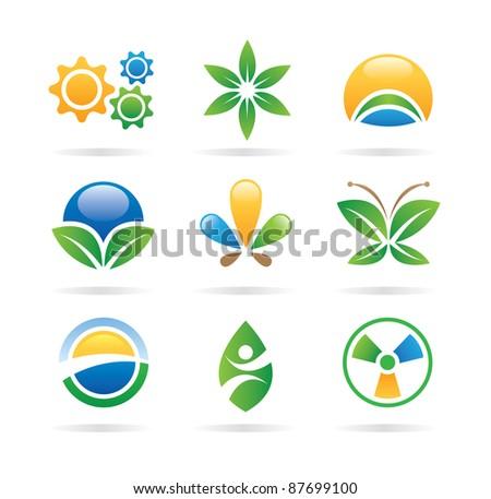 Logo nature green eco world health medical icons - logos