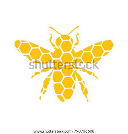 Logo of a bee. Stylized logo with a honey bee. Hornet. Icon with insect. The farm.