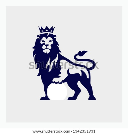 Logo of a bluehead with a crown on his head isolated on a light background. Lion vector icon. Vector illustration. EPS 10