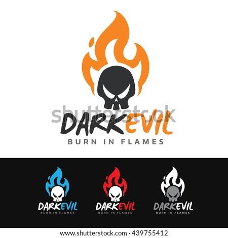logo of a dark skull on fire