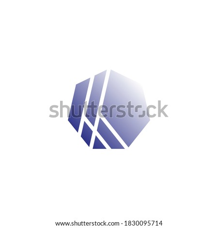 logo of a heptagon with several lines that cut and form the letter k Stock fotó ©