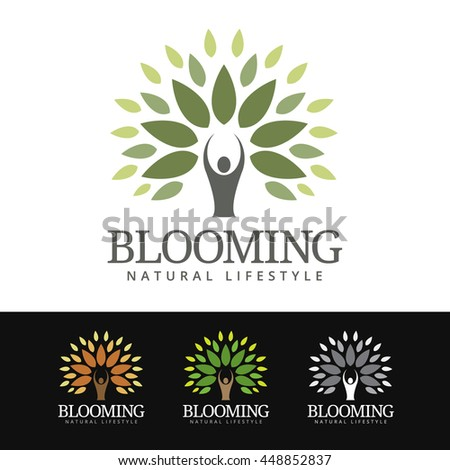 Logo of a stylized tree with human silhouette as trunk. This logo is suitable for many purpose as wellness center, patrimony and wealth management, environmental group, spa resort and more.