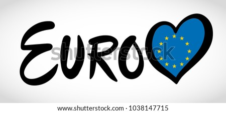 Logo of EURO with heart with flag of Europe