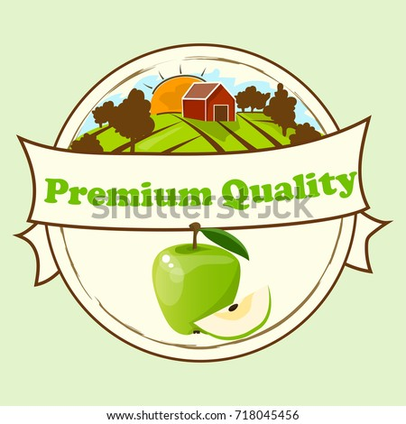 Stock Photo logo of fresh green apple juice. Vector round label, apple jam, sauce or juice label. yummy apply on label with farm or ambar on green meadow