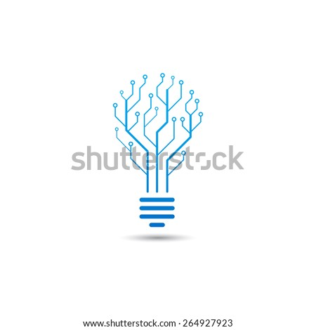 Logo of information technology. Concept of logo in the form of a bulb with circuit board.