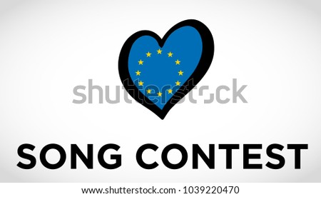 Logo of song contest with heart with flag of Europe