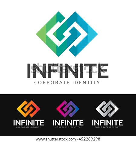 Logo of 2 stylized squares in synergy (infinity symbol). This logo is suitable for many purpose as corporate identity, marketing firm, investment and funds services and more.