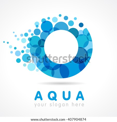 Logo of tourism, resort or hotel by the sea in letter O bubbles. Aqua O logo