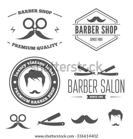 Logo or badge, label, logotype elements for barber shop