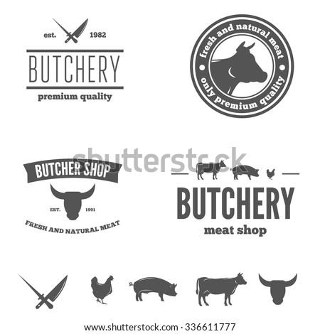 Logo or badge, label, logotype elements for butchery or butcher shop