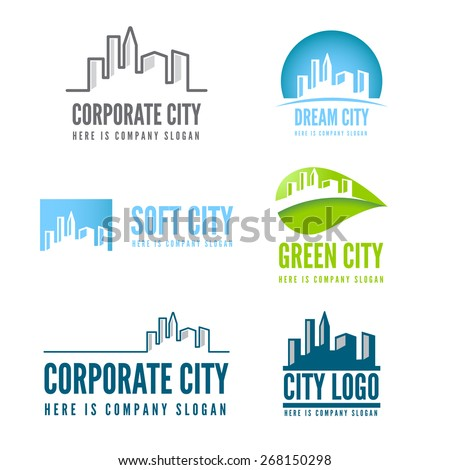 Logo or badge, label, logotype elements with buildings for web, business or other projects
