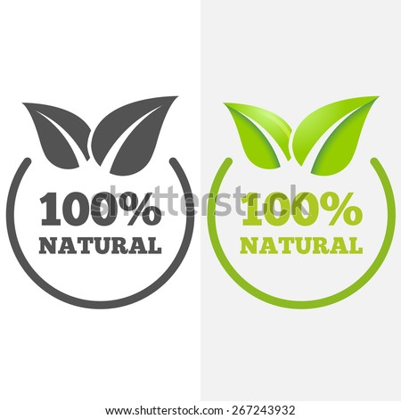 Logo or badge, label, logotype elements with leafs for web, business or natural products