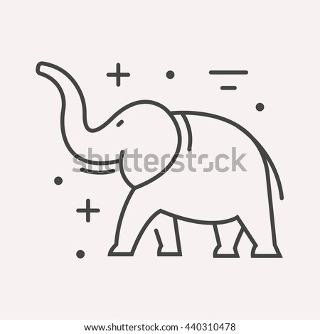 logo or label elephant. Line style logotype template. Easy to use business template. Vector abstract logo or emblem.