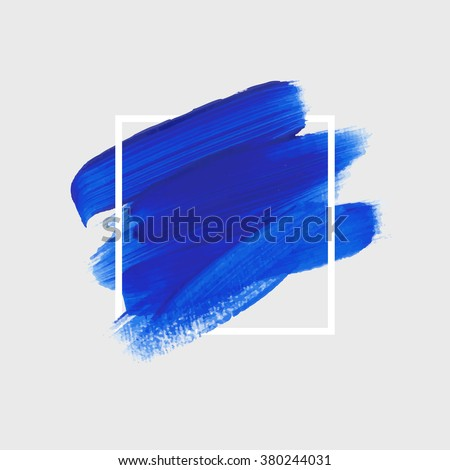 Logo paint template. Original grunge brush paint texture design acrylic stroke poster over square frame vector. Original rough paper hand painted vector. Perfect design for headline, logo and banner.