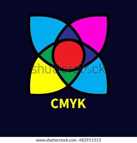 Logo printing house. Icon flower, subtractive and addictive color models cmyk and rgb. Intersecting colored drops. Vector illustration.