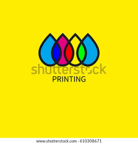 Logo printing house. Icon subtractive and addictive color models cmyk and rgb. Intersecting colored drops. Vector illustration.