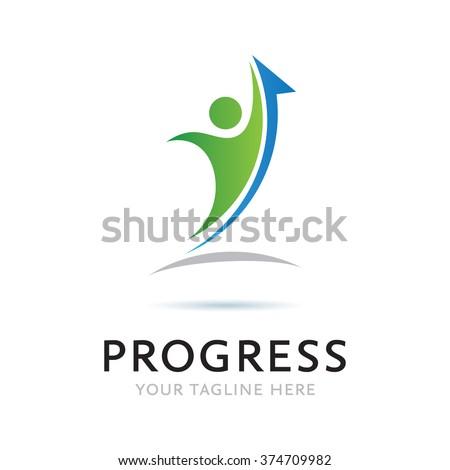 Logo Progress Man Icon Element Template Design Logos