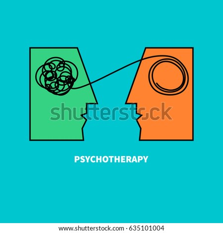 Logo psychotherapy. Two heads with confusing tangle of threads. Vector illustration. Vector illustration.