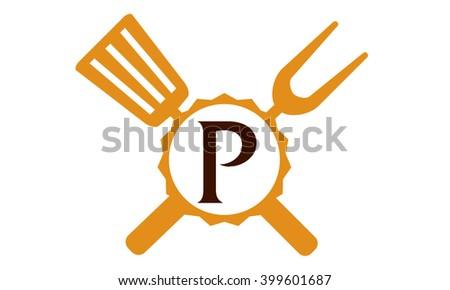 Logo Restaurant Letter P Photo stock ©