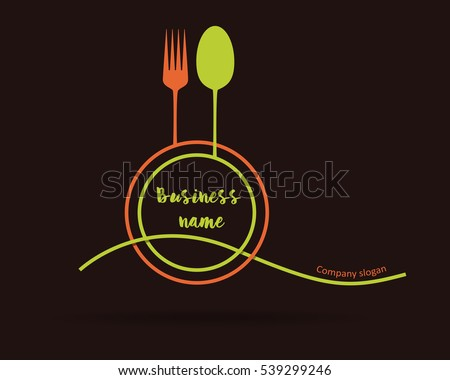 stock-vector-logo-restaurant-minimalist-simple-logo-in-two-colors-green-and-orange-on-brown-background-vector