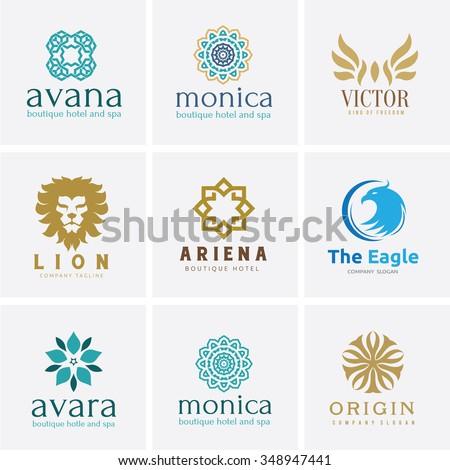 Logo set,Logo Collection,Crests logo,hotel logo,boutique brand logo,Vector Logo Template