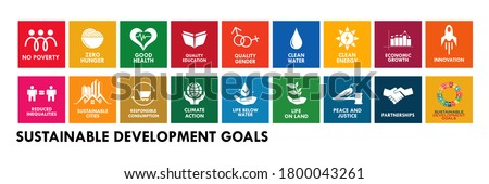 Logo set of The Global Goals. Corporate social responsibility. Sustainable Development Goals - the United Nations.