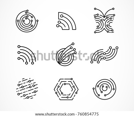 Logo set - technology, biotechnology, tech icons and symbols