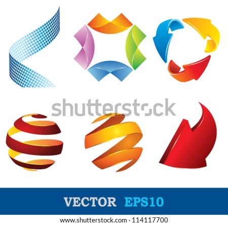 logo shape set, 3d style.