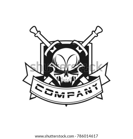 logo skull with sword and
