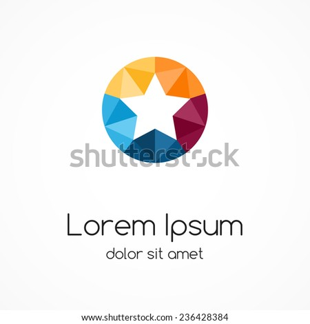 Logo star template. Abstract circle color creative sign, symbol with 5 parts.