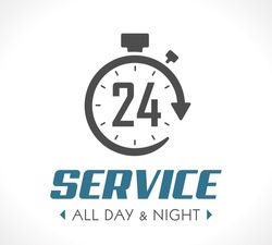 Logo - Stopwatch concept - all day and night - 247 service