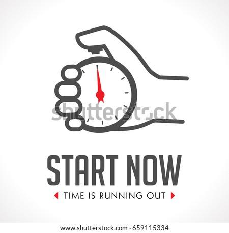 Logo - stopwatch in hand - start concept