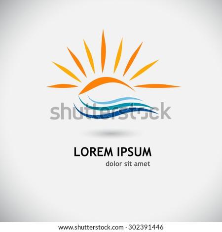 logo sun wave vector