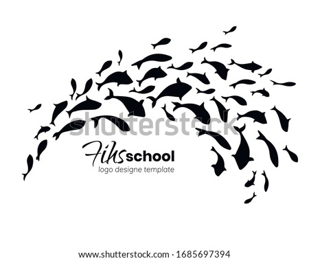 Logo template design with flock of jumping fish. School of fish. Vector illustration.